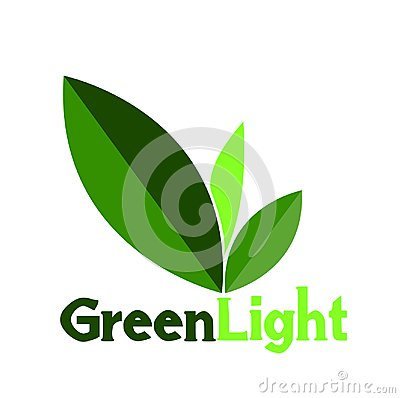 Green Light logo or symbol leaf Stock Photo