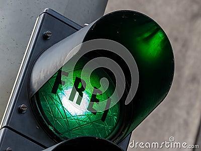 Green light at a parking garage