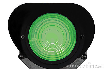 Green light railway traffic signal isolated