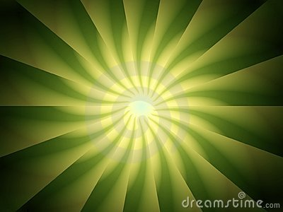 Green Light Rays Spiral Design