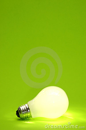 Free Green Lightbulb Background Royalty Free Stock Photography - 124947