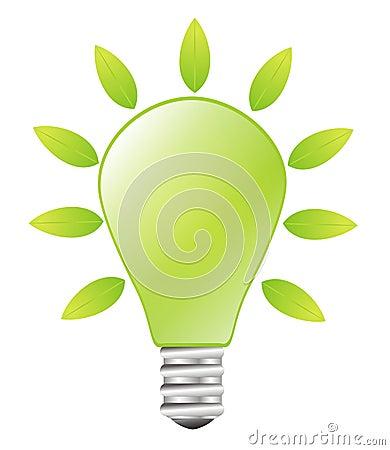 Green lightbulb - green energy concept