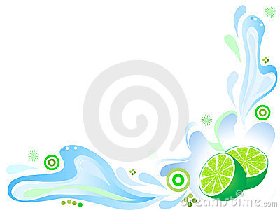 Green lime with splashing water