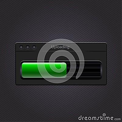 Green loading bar. Vector