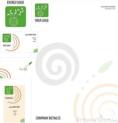 Green logo on business card and letterhead