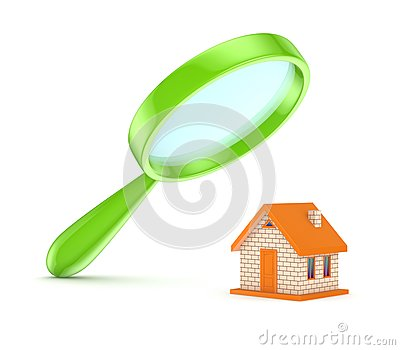 Green loupe with a small house.