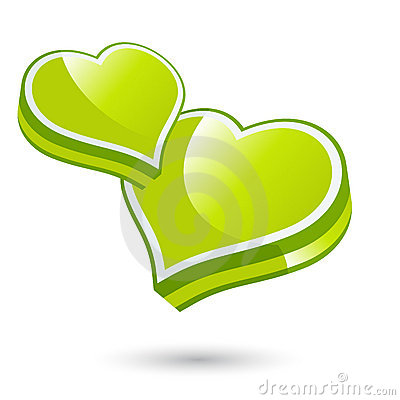 Green love hearts