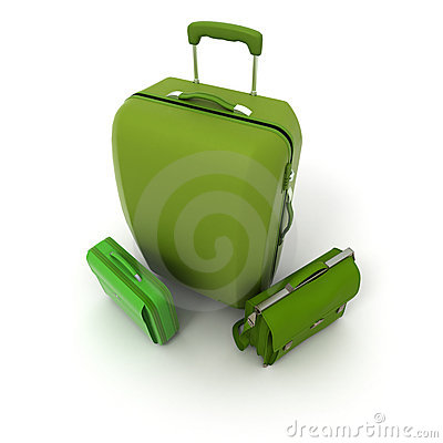 Green luggage set