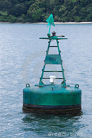 Free Green Marker Buoy At Sea Royalty Free Stock Photography - 18528257