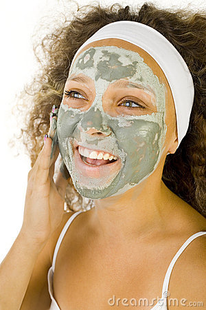 Green mask on face