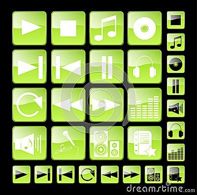 Green media icons