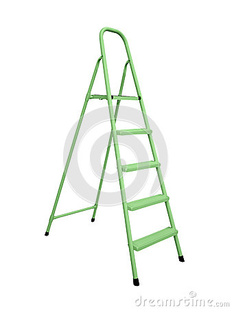 Green metal stepladder isolated over white