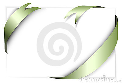 Green metal vector ribbon around blank white paper