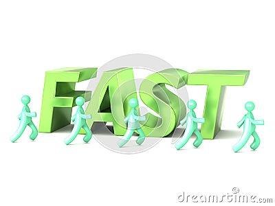 Green metallic italic fast word lettering with running cartoon men