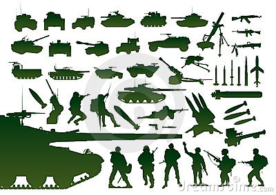 Green military silhouettes
