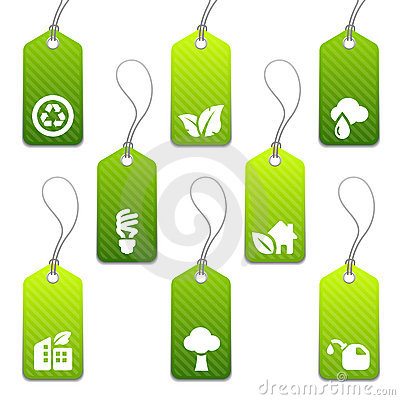 Free Green Mini Eco Tags Stock Image - 7649291