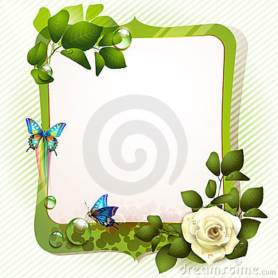 Green mirror with rose