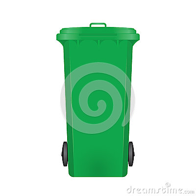 Green modern recycle bin