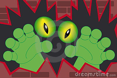Green monster hands coming out of a wall