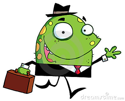 Green monster with a suitcase goes to work