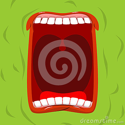 Free Green Monster With His Mouth Open. Scary Ghost Shouts. Horrible Stock Image - 79753911