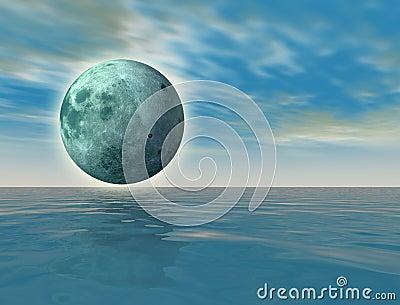 Green moon over the ocean