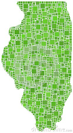 Green mosaic map of Illinois
