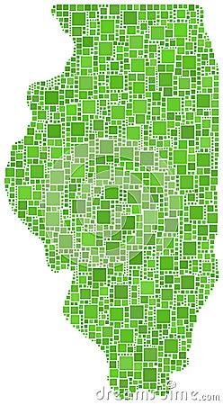 Green mosaic map of Illinois
