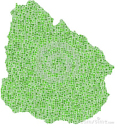 Green mosaic map of Uruguay