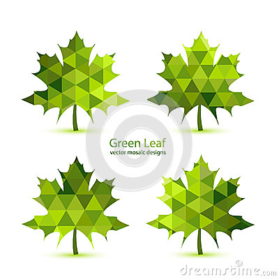 Free Green Mosaic Vector Maple Leaf Royalty Free Stock Photos - 38483998