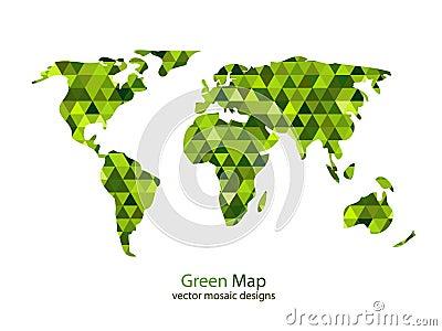 Green mosaic world map