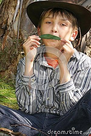 Green  Music - playing gumleaf
