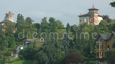 Green nature and classic buildings. Beautiful houses, trees and sky. Estate owned by aristocracy stock video footage