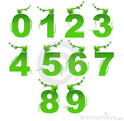 Green Nature Digits Vector