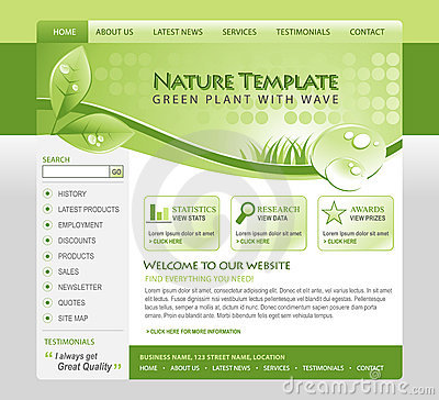 Free Green Nature Eco Web Template Royalty Free Stock Photos - 14098928