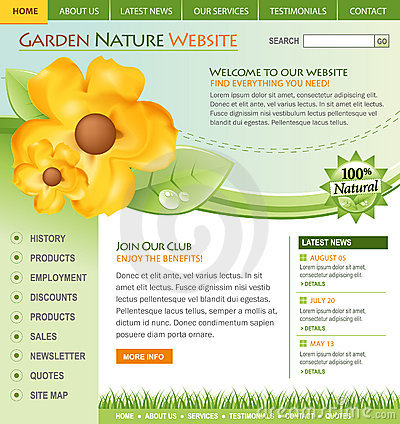 Free Green Nature Flower Website Template Royalty Free Stock Photography - 15096847