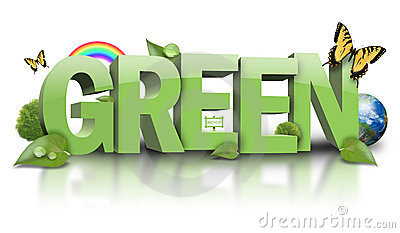 Green Nature Leaf Text on White
