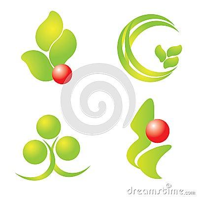 Green nature logos set