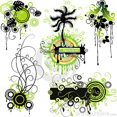 Green nature-themed motifs