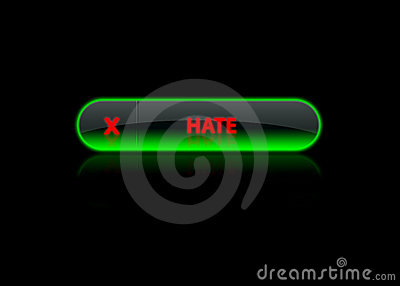 Green neon button hate
