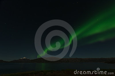 Green Northern Light in Greenland