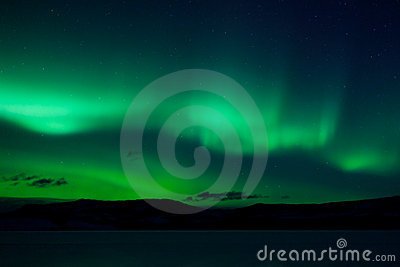 Green northern lights (aurora borealis)