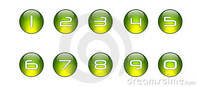 Green Numbers Icons Set [01]