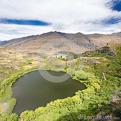 Green oasis in dry highlands of Central Otago, NZ