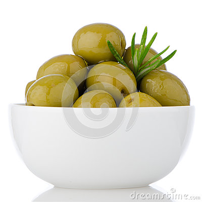 Green olives in a white ceramic