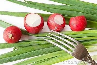 Green onions,  red radish over white