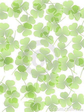 Green Opaque Clover Leaves Background