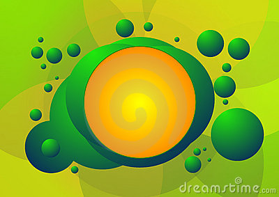 Green and orange bubble background pattern
