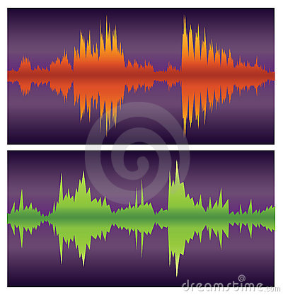 Green and orange sound waves on purple