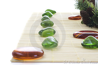 Green and orange stones for spa